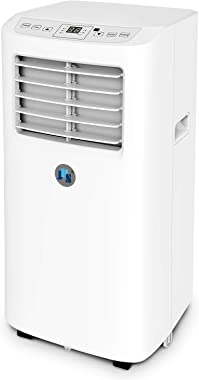 JHS 8,000 BTU Small Portable Air Conditioner 3-in-1 Floor AC Unit with 2 Fan Speeds, Remote Control and Digital LED Display, Cover up to 200 Sq. Ft, White