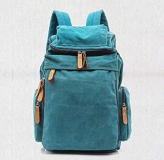 PANFU-AU Unisex Casual College Bag Hiking Bag 15-inch Laptop Business Backpack Canvas Rucksack Canvas Backpack Vintage Outdoor Rucksack Laptop Backpack (Color : Blue)