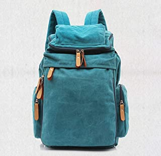 SAIPULIN Unisex Casual College Bag Hiking Bag 15-inch Laptop Business Backpack Canvas Rucksack Canvas Backpack Vintage Outdoor Rucksack Laptop Backpack (Color : Blue)