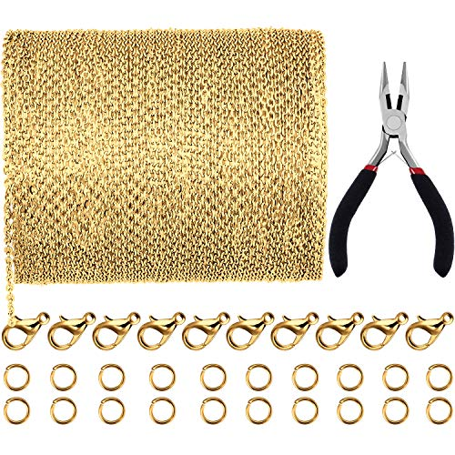 JOVITEC 39.4 Feet 2 mm Link Chain Necklace Jewelry Plier with 30 Pieces Lobster Clasps and 100 Pieces Jump Rings for Jewelry Accessories DIY (Gold Color)