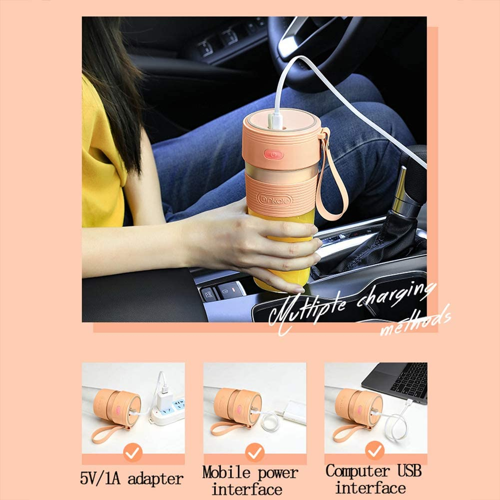 Juice Portable Maker Juicer Cup Bouteille rechargeable USB machine électrique Mixer Mini Juice Maker Coupe Blenders rapide, 300ML,Vert Green