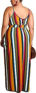 PORRCEY Summer hot air Plus-Size Women's Print Stripe Loose Shape with Belt Halter Dress