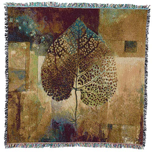 Pure Country Weavers Abstract Autumn by Jae Dougall Lap Square Blanket Throw Woven from Cotton - Made in The USA (54x54)