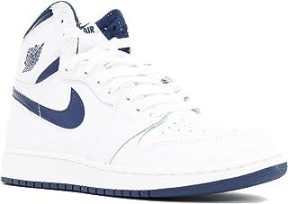 Jordan Nike Kids Air 1 Retro High Og BG White/Midnight Navy Basketball Shoe 7 Kids US