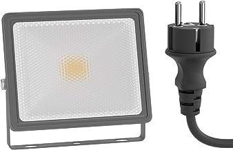 ledscom.de LED buiten schijnwerper FLIN, schijnwerper, IP66 waterdicht, met stekker grijs 10W 800lm warm-wit