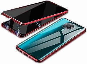 جراب EUDTH Xiaomi Redmi K30 Pro، جراب مضاد للبصر، إطار معدني ممتص مغناطيسي + غطاء من الزجاج المقسى جراب واقي للجسم بالكامل لهاتف Xiaomi Redmi K30 Pro 6.6 بوصة - أحمر