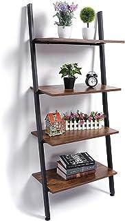 KINGSO Industrial Ladder Shelf 4-Tier Bookshelf Leaning...