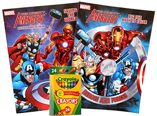 Marvel Avengers Jumbo Coloring and Activity Books (Set of 2 - 96 Pages each) with Crayola Crayons 24ct