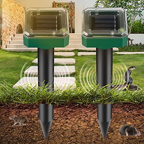 Vivibel Repelente de Ratones Solar Ultrasónico, 2 Piezas Ahuyentador de Topos Solar, IP65 Repelente Ultrasónico para Animales, Repelente de Topo