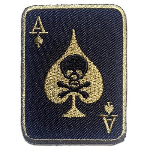 Parches - Poker as calavera Biker - varios colores seleccionables - 5.6 x 7.6 cm - by catch-the-patch® termoadhesivos bordados aplique para ropa, Farbvariante:negro