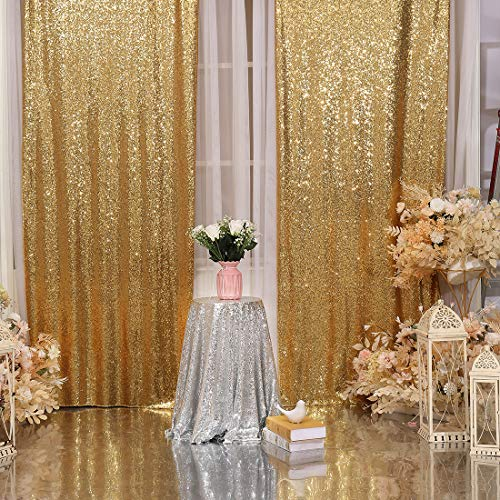 2Pcs 3Ft x 8Ft Gold Sequin Backdrop Curtain, Glitter Photography Background, Sequence Xmas Thanksgiving Backdrop for Wedding Party Holiday Festival Decor