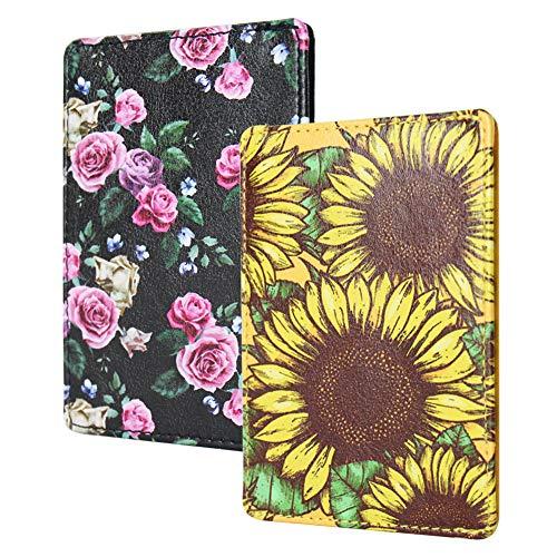 LIZIMANDU 2 Pack Slim Minimalist RFID Leather Wallets,Front Pocket Wallet,Credit Card Holder for Men & Women,Money Clip(2-Rose Sunflower)
