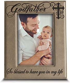BELLA BUSTA-Godfather with Cross-So Blessed to Have You in My Life-Godfather Gift from Godchild Engraved Lather Picture Frame (5 x 7 Vertical)