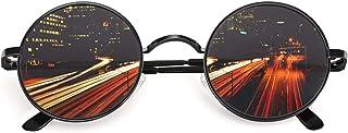 CGID E01 Retro Vintage John Lennon Inspired Round Metal Circle Polarized Sunglasses With Leather Case