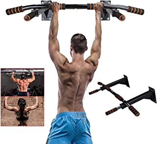 HANXIAODONG Adjustable Power Workout Dip Station, Wall Mounted Pull Up Bar Multifunctional Power Tower Set Chin Up Station Home Gym Workout Strength Training Equipment Fitness Dip Stand Supports