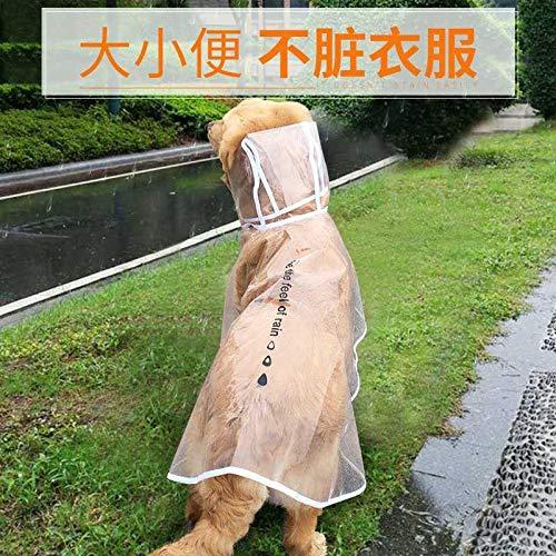 Grote hond regenjas een Border gouden mantel poncho middelgrote grote hond paraplu kant, veeteelt benen huisdieren waterdichte kleding M- buste 38-41cm (5-7 kg lichaamsgewicht wordt aanbevolen) [witte rand] doorzichtige regenjas (5 yuan voor schoenen)
