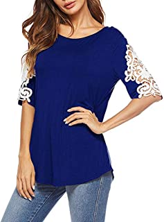 Padaleks Women's Short Sleeve Crew Neck T Shirts Lace Patchwork Tunic Tops Casual Comforty Pullover Blouses