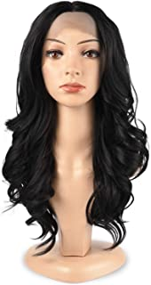 TOFAFA Black 1B Lace Front Wigs 100% Heat Resistant Synthetic Hair Long Wave Wig for Women 18 inches