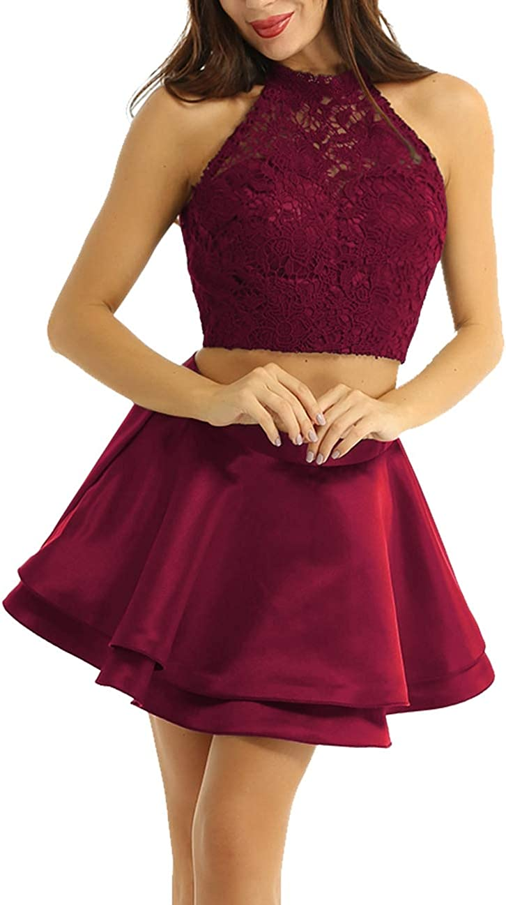YiZYiF Women Girls Two Pieces Short Prom Gowns Lace Appliques Homecoming Dresses