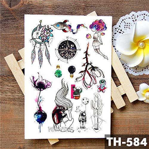 5Pcs-Blume Totem Traumfänger Schmetterling Mond Tattoo Aufkleber Anhänger Puppe Aquarell Tattoos Body Art Tattoo -In Tattoos Von 07-Th-584