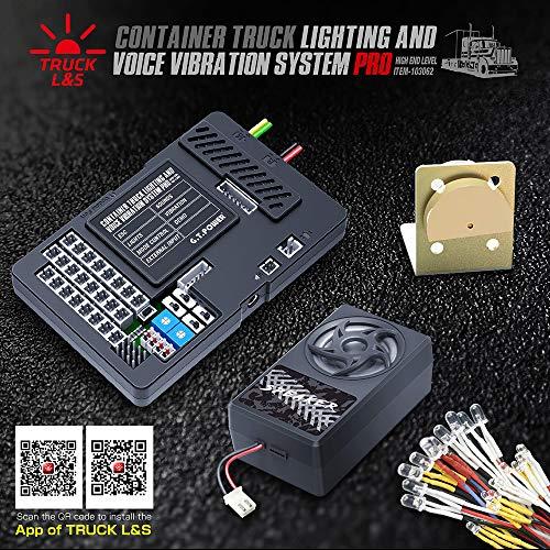 Benkeg Sistema de simulador de luz de Sonido de Coche GT Power E30 BT Contenedor de camión Sistema de simulación de vibración de Voz Ligera ESC Integrado para Tamiya Container Truck RC Truck