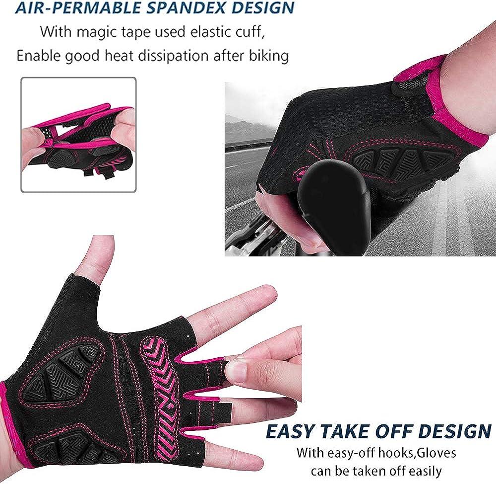 MOREOK Mens Cycling Gloves,Half Finger Biking Glove MTB DH Road Bicycle Gloves Gel Pad Shock-Absorbing Anti-Slip Breathable Motorcycle Mountain Bike Gloves Unisex Women : Sports & Outdoors