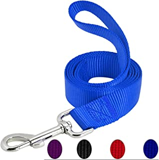 AEDILYS Dog Leash,Strong and Durable Traditional Style Leash with Easy to Use Collar Hook,Nylon Dog Leashs, Traction Rope, 6 Feet Long, 1 Inch Wide,Blue