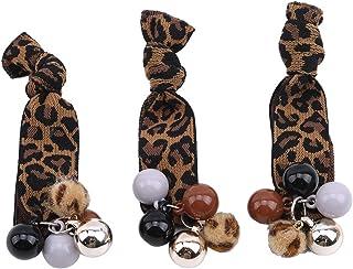 Yinew, set di 3 pezzi annodati in corda elastica con perline leopardo per capelli, per coda di cavallo, accessori per cape...