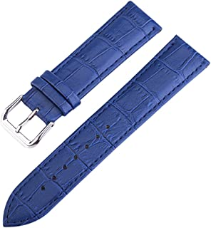 12-20mm Blue High-end Premium Alligator Grain Leather Watch Band Strap for Women Genuine Cowhide Leather