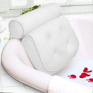 Beejirm Cojín de Baño, Reposacabezas de Baño con 6 Ventosas, Almohada de Baño de Malla 3D, Almohada de Baño de Masaje, Adecuada para Bañera de SPA en Casa (Blanco)