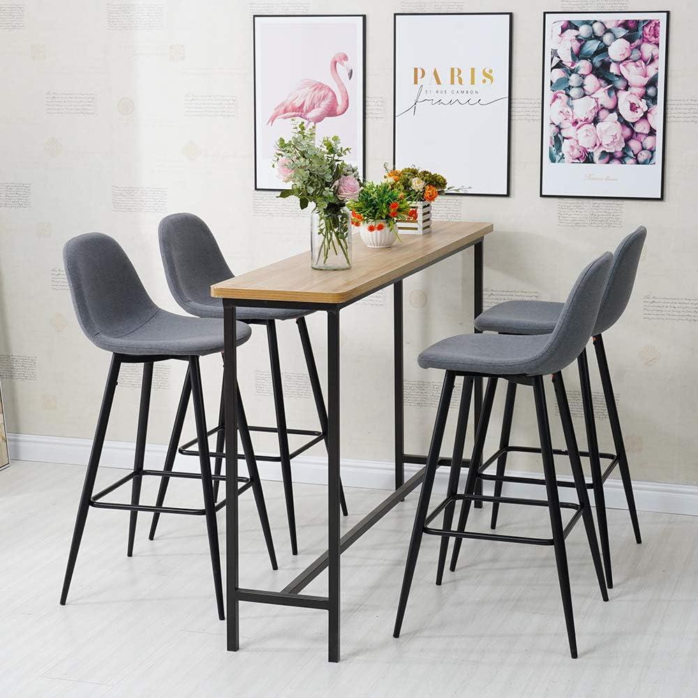 TUKAILAI Bar Stools Set of 9 pcs Barstools Grey High Stools Breakfast  Kitchen Chairs Counter Bar Chairs Metal Leg in Black