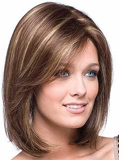 Tsnomore Shoulder Length Short Straight Fashion Women's Full Hair Wig (Brown)