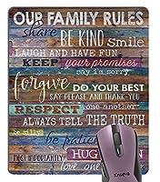 心に強く訴える引用マウスパッドカスタム、素朴な古い田舎木私たちの家族ルール引用壁アートことわざ引用記号装飾マウスパッド