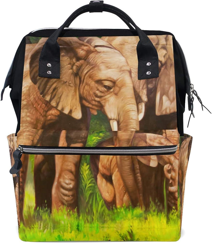DEZIRO Canvas Oil Painting Elephants Family School Pack Backpacks Travel Bag