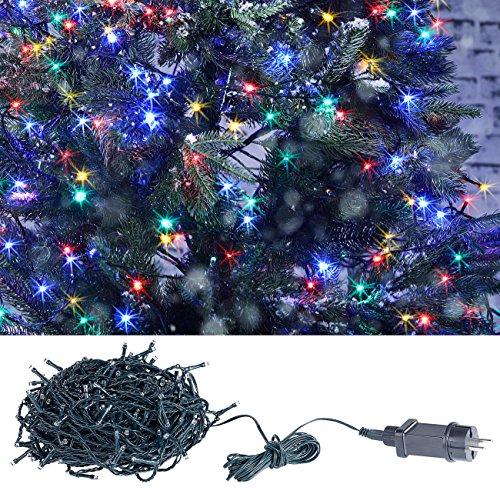 Lunartec Lichtketten: LED-Lichterkette mit 320 LEDs für innen & außen, IP44, 4-farbig, 32 m (Weihnachtslichterkette LED)