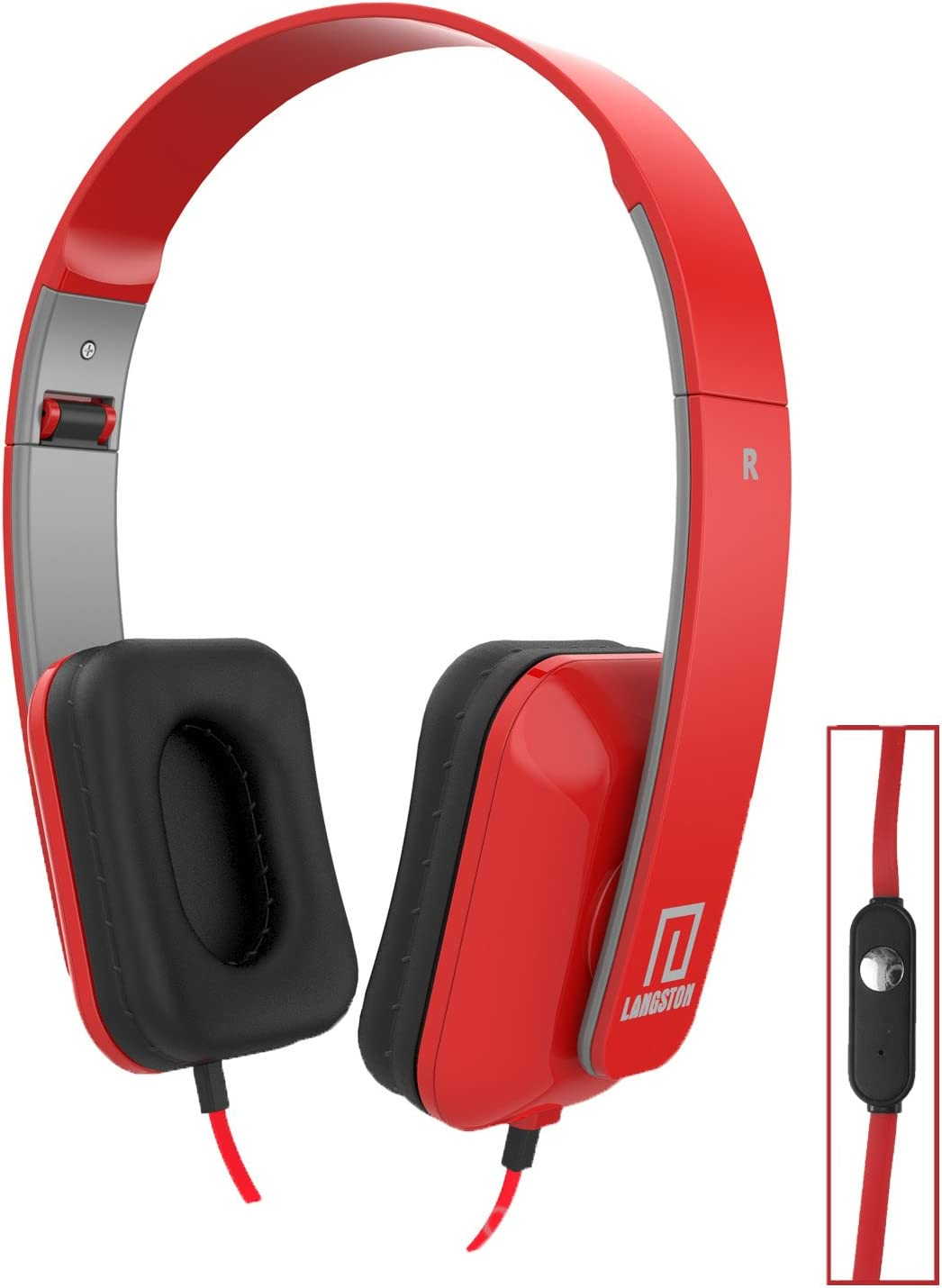 Langston ® Archos 50 Saphir / Archos 55 Diamond Selfie Red Deep Bass Foldable HD Headphones (iM-8) with Microphone and Remote Red Langston DeepBass iM-8