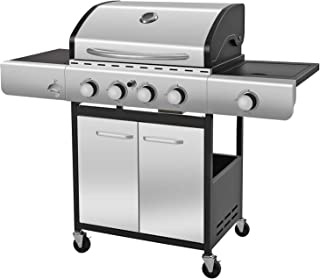 R.W.FLAME Liquid Propane Gas Grill with 4-Burner, Bottle Opener, Side Burner, Enamelled Cooking Grills, Stainless Steel Ga...