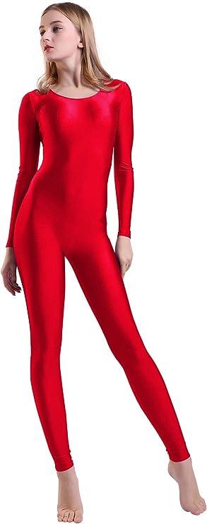 S chiwanji Womens Long Sleeve Unitard Bodysuit Full Body Scoop Neck Unitard Dance Costumes Black