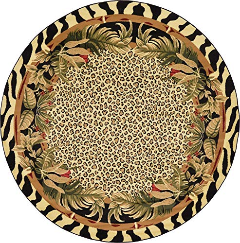 Unique Loom Wildlife Collection Cheetah Botanical Border Animal Print Cream Round Rug (8' 0 x 8' 0)
