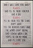 """Wanddeko, Motiv: Songtext zu """"Always"""" von Bon Jovi auf"""