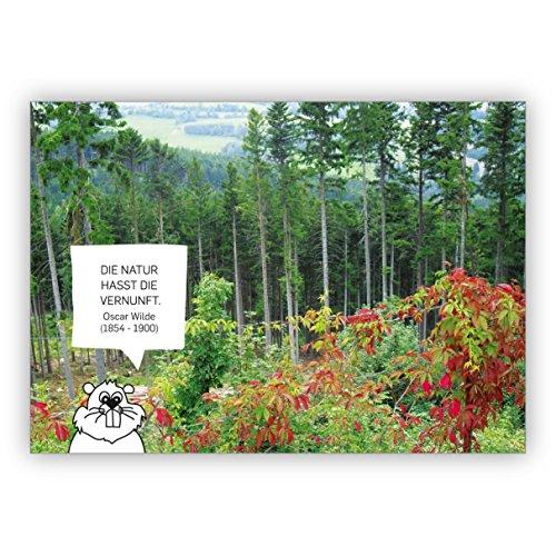 Set van 5 natuurlijke spreukkaart met bever: De natuur heeft het verstand. Oscar Wilde (1854-1900)