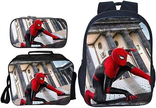 RLJqwad Sac à Dos pour Enfant Costume Trois pièces Sac à Dos imprimé Marvel Sac à Dos Spider-Man Sac à Dos pour Enfant Sac à Dos pour école Primaire Spiderhomme 1