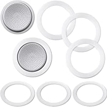 6 Pieces Coffee Gasket Replacement and 2 Pieces Coffee Filter Plate for Stovetop Espresso Coffee Makers