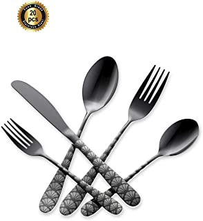 Hoften Silverware Set, Black 20 Piece Food Grade Stainless Steel Flatware Set Include Fork Spoon Knife Utensils for Daily Use and Party, Service for 4, Anti Rust, Safe in Dishwasher(HD822BL-LS02)