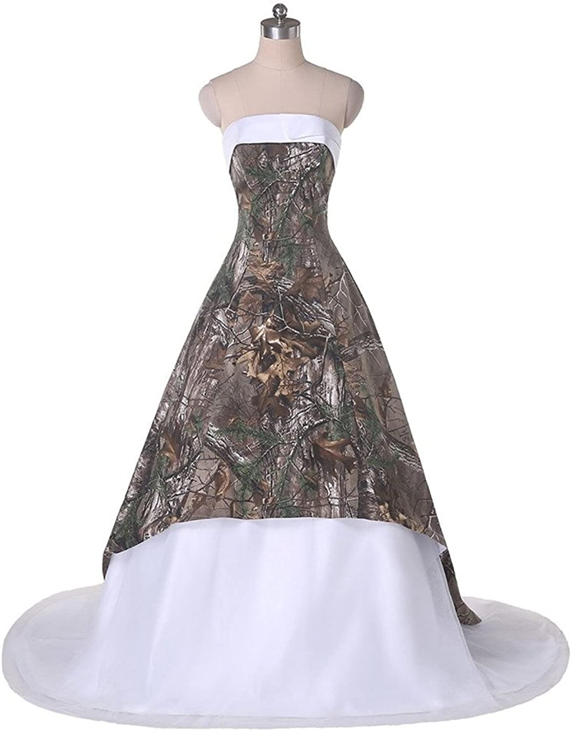 DianSheng Trendy Affordable Camo Prom Pageant Dress Ball Gown Strapless Wedding Gown AS752