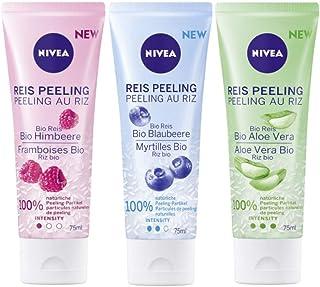 NIVEA Reis Peeling Bio Blaubeere, Aloe Vera, Himbeere 3er-Set, 100% biologisch angebauter, natürlicher Reis, für alle Hauttypen, Gesichtspeeling, verschiedene Peeling Intensitäten, 3 x 75 ml