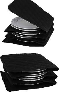 Calentador de platos eléctrico, 10 platos, 30 cm, 5 capas (algodón, lavable, tiempo de calentamiento 15-30 minutos, negro)