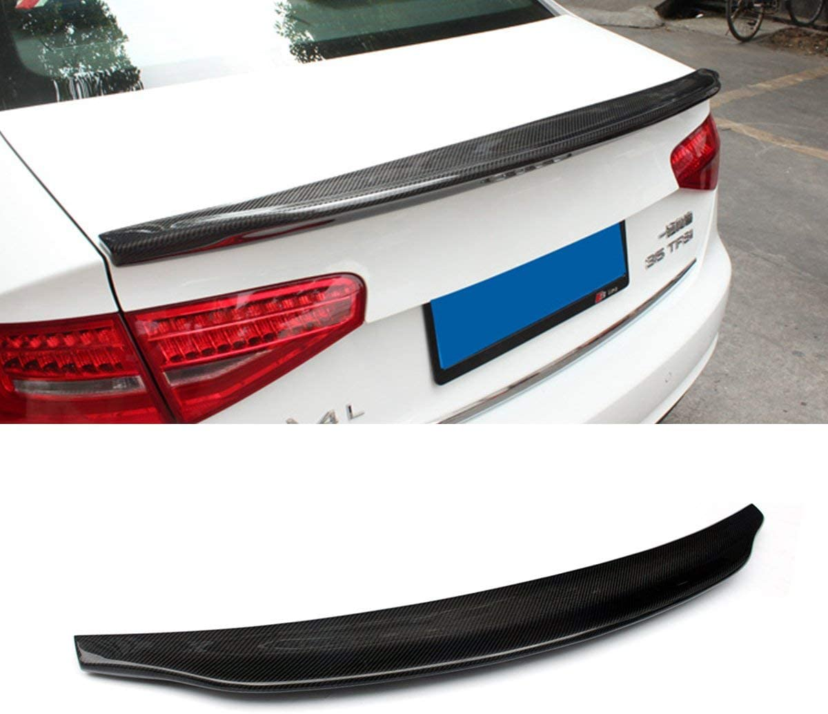 Car Universal Punch-free Tail Modified Carbon Fiber Pure Black Top Wing Durable