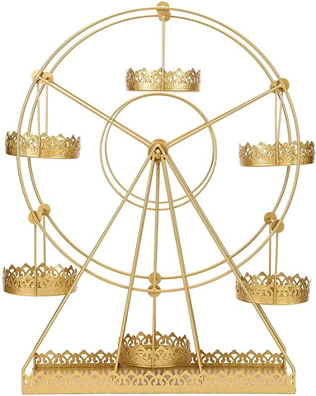 BalsaCircle 23 Inch Tall Gold Rotating Ferris Wheel Metal Cupcake Holders Stand Birthday Party Wedding Reception Event Decorations