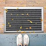 etm Aluminium Fußmatte | Türvorleger mit Alu-Rahmen und Einlage nach Wahl | wetterfest für außen und innen | Teppich Rips Large (45x75 cm)
